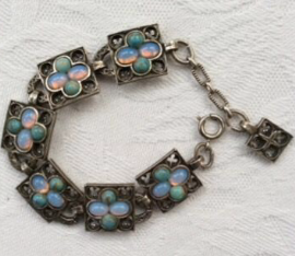 Miracle Celtic Faux Opal  and Faux Turquoise Jewelled Bracelet - Vintage (SOLD)